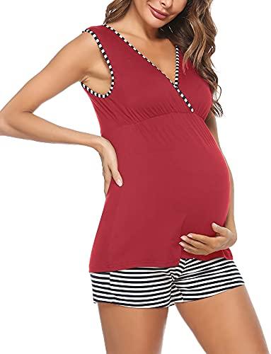 Aibrou Pijamas Lactancia Mujer, Ropa Maternidad de Manga Corta Verano Pijamas Maternidad Lactancia Hospital Premamá Pijama Rayas Algodón Conjuntos Embarazadas para Casual Vino Tinto XXL