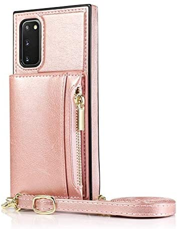 Case for Samsung Galaxy S20 Plus, Zipper Wallet Case with Credit Card Holder/Crossbody Long Lanyard, Shockproof Leather TPU Case Cover for Samsung Galaxy S20 Plus (Color : Rosegold)