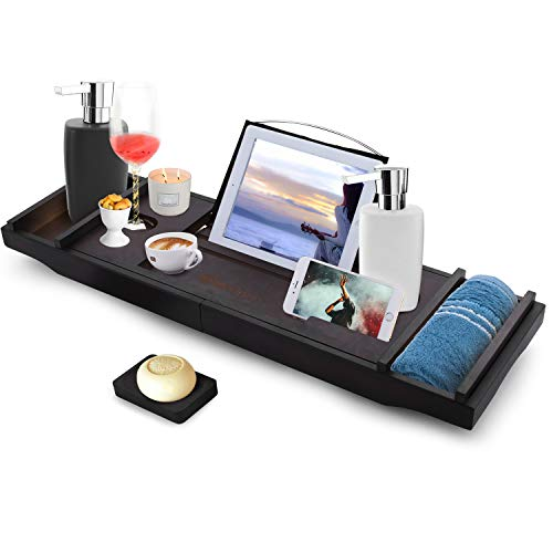 of bath caddies Modrine Expandable Bamboo Bathtub Caddy - Adjustable Wooden Serving Tray and Organizer for Any Size Bathtub - Phone and Tablet Compartments -Wine Holder Bathtub Tray Brown