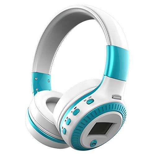 LG&S Auriculares Inalámbricos Bluetooth En La Oreja Pantalla LCD HiFi Auriculares Estéreo con Graves con Micrófono Radio FM Auriculares Supraaurales Ranura para Tarjeta Micro-SD TF,Azul