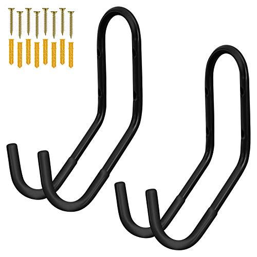 WELLGRO 2er Set Wand Fahrradhalter inkl. Metallschrauben und Dübel - Haltebügel mit Gummiummantelung - Fahrradhalter - Wandhalter - ca. 32 x 11,5 x 21 cm - Farbe wählbar, Farbe:Schwarz