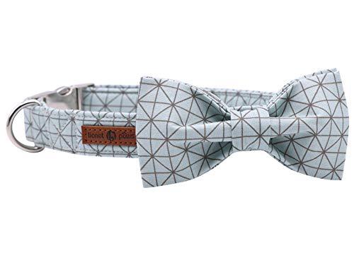 lionet paws Hundehalsband mit Fliege, Langlebiges Bequemes Baumwolle Halsband mit Metall Steckverschluss für Hunde und Katzen, Hals 20-30cm