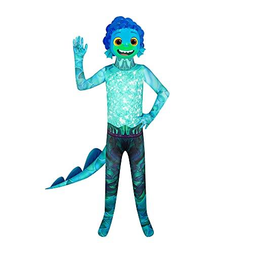 Luca Fancy Dress Sea Monster - Mono para nios, diseo de monstruos marinos, color verde con mscara 3D para nios de 5 a 12 aos