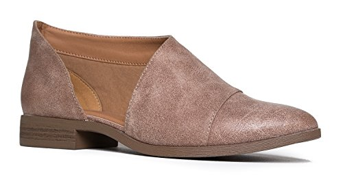 J. Adams Pismo Pointed Toe Loafers - Open Side Cut Out Flats – Slip On Bootie Taupe