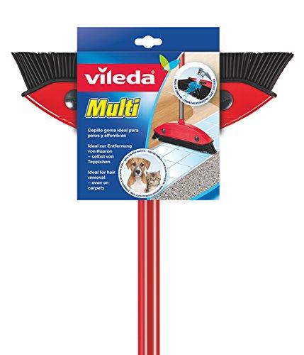 Vileda Multi Besen, mit Teleskopstiel, Kautschukborsten, gegen Tierhaare, verstellbar von 75–130 cm