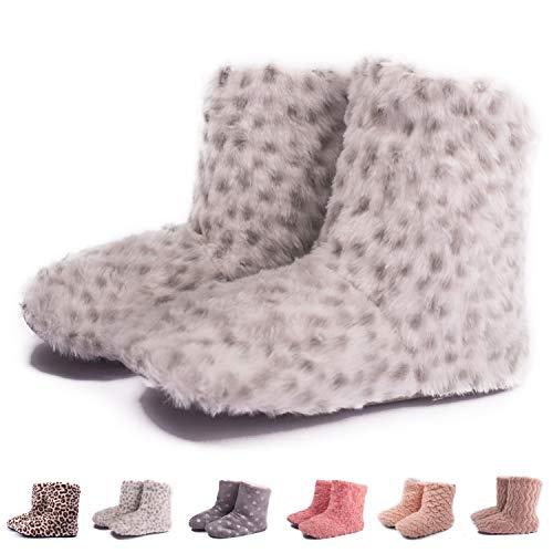 TWINS Fashion « Montreal » weich & warm gefütterte Damen Hütten-Schuhe I Stiefel I Slippers I Fleece Plüsch - rutschfeste hohe Hausschuhe Winter (36/37, Grau-Leopard)