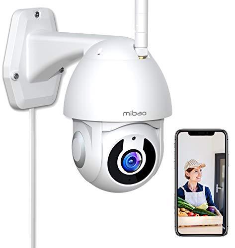 1296P Cámara de Vigilancia Interior/Exterior, Mibao WiFi Cámara con Vista panorámica/inclinación de 360 °, IP66 a Prueba de Agua, Visión Nocturna, Detección de Movimiento, Audio Bidireccional.