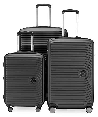HAUPTSTADTKOFFER - Centro – Juego de 3 maletas - Maleta cabina 55 cm, Maleta Mediana 68 cm + Maleta Grande 77 cm, Carcasa rígida ABS, TSA, Champán.