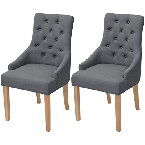 Tidyard Eichenholz Esszimmerstühle 2 STK. Dunkelgrau Stoff Oak Dining Chairs Set of 2 Dining Chair Fabric Cushion for Kitchen/Wooden