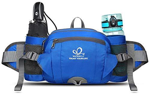 WATERFLY Gürteltasche mit Flaschenhalter, Gurt Verstellt Bauchtasche Hundetraining Handyfach Wasserdicht Hüfttasche für Wandern Reise Camping