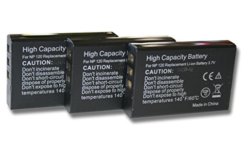 3 x vhbw Akku Set 1600mAh (3.7V) für Kamera Kyocera, Yashica Contax TVS, TVS digital wie NP-120, BP-1500s.