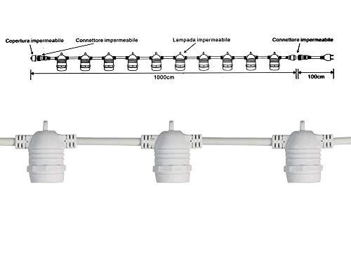 Vetrineinrete Catena luminosa per esterno con 10 portalampada per lampadine E27 stringa di luci prolungabile impermeabile Ip65 10 metri D23 (Bianco)