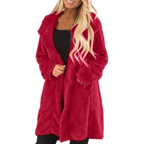 FRAUIT Damen Langarm Wintermäntel Warm Outwear Freizeitjacke Mantel Fleecejacke Warm Bequem Frauen Lang Parka Mantel Elegant