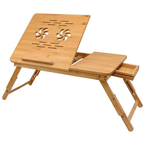 Faltbar Laptoptisch Betttablett Betttisch Frühstücktisch - Laptopständer verstellbar Lapdesks Holz Betttisch Faltbar mit kühler und Schublade fürs Bett Sofa, Bambus