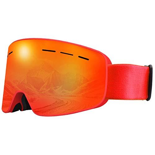 X-TIGER Gafas de Esquí, Gafas Esquí Snowboard para Mujer Hombre, Máscara Esquí OTG con Gran Campo de Visión, Doble Lente Anti-Niebla, 100% UV400 Protección, Lente Intercambiable (0201)