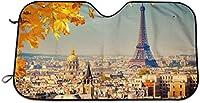ヴィンテージエッフェルタワーパリフランスの木 サンシェード 車用 カーシェード 遮光 遮熱 車窓日よけ 日よけ UV 紫外線防止 暑さ対策 簡単取り付け 吸盤