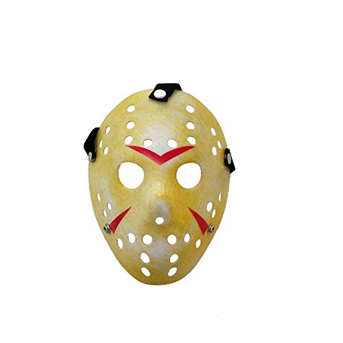 DMAR Jason Mask 1 Pieza Máscara Amarilla de Fiesta de Disfraces de Halloween Horror Prop Cosplay Horror Hombre Mujer Freddy Halloween Scary Face Mask Adulto, Vintage Hockey Festival Mask