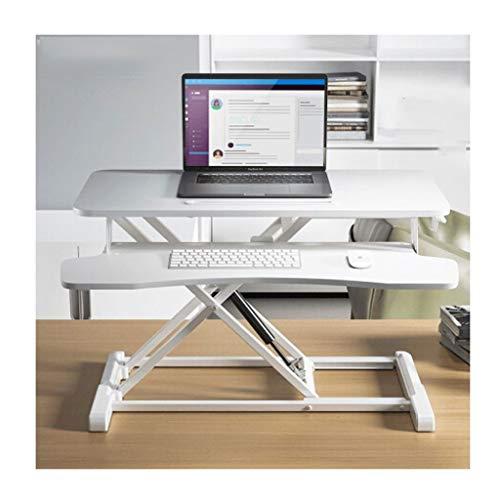 hongbanlemp Soporte para ordenador portátil, altura ajustable, soporte para monitor de computadora, mesa de elevación, soporte para monitor plegable con resorte neumático para portátil (color: blanco)