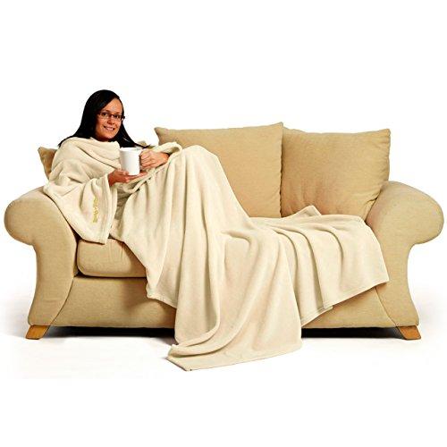 Snug Rug Deluxe en Polaire la Couverture avec Manches pour Adulte, mûre 60 x Porte, 214 x 152cm (Creme)