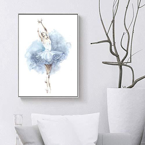 WSNDGWS moderne minimalistische aquarel balletdanser Scandinavische woonkamer bank muurdecoratie schilderij zonder fotolijst 20x30cm B1