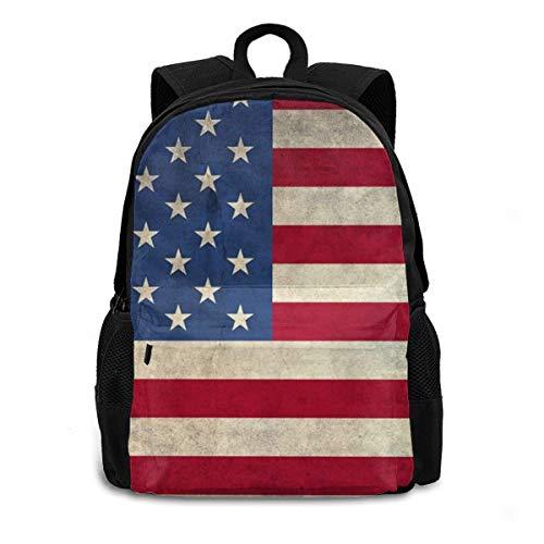 Mochila para portátil retro con bandera de Estados Unidos, para estudiantes universitarios, para la escuela, para viajes, para hombres y mujeres