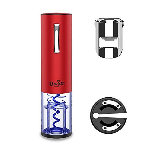 Bueda - Cavatappi elettrico, apribottiglie automatico, per vino, in acciaio inox, batteria al litio, senza forza, con tagliacapsule e tappo in acciaio inox (rosso)
