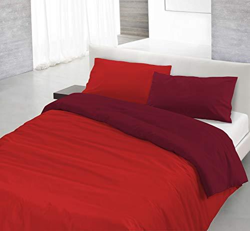 Italian Bed Linen Natural Color Parure Copri Piumino, 100% Cotone, rosso/bordeaux, SINGOLO, 2 Unità