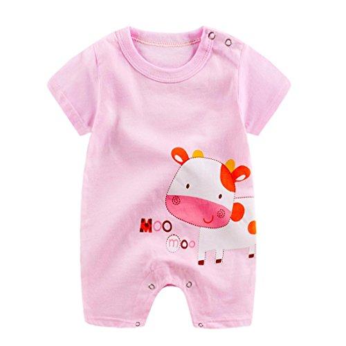 Riou-baby Jumpsuits Babykleidung, Mädchen Jungen (0-24 Monate) Karikatur Druck Overalls Sommerkleidung Sommer Party Spielanzug Strampler Bodys Einteiler (Rosa, 3-6 mths)