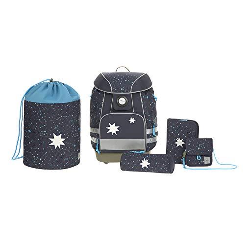 LÄSSIG Schulranzen Set mit Sporttasche, Federmäppchen, Stiftemäppchen, Turnbeutel und Brustbeutel ab 6 Jahre/School Bag Set Magic Bliss Boys