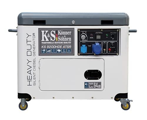 Könner & Söhner KS 9200HDE - Generador diésel ATSR 14 CV, generador diésel 6800 W, generador diésel con recubrimiento de cobre, regulador de voltaje automático (AVR), para uso doméstico y comercial