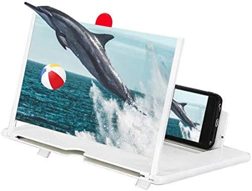 Eastor Handy Bildschirmlupe,12 Zoll Handy Lupe,3D Bildschirm Vergrößerungsglas für das Ansehen von Filmvideos,Faltbarer Handylupe Bildschirm Vergrösserung für alle Smartphones(Weiß)