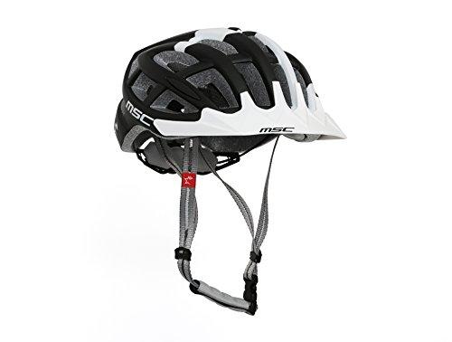MSC Bikes HX100MLBKWH Casco de MTB, Negro/Blanco, M/L (58cm-61cm)