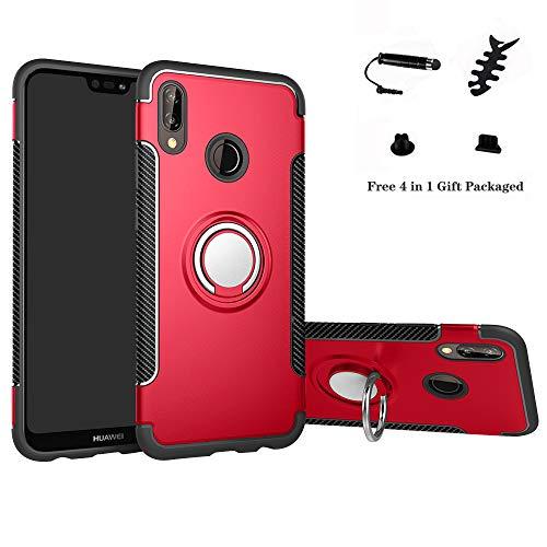 Labanema Huawei P20 Lite Funda, 360 Rotating Ring Grip Stand Holder Capa TPU + PC Shockproof Anti-rasguños teléfono Caso protección Cáscara Cover para Huawei P20 Lite - Rojo