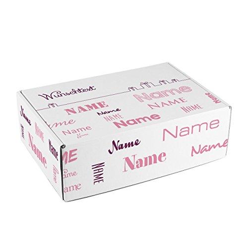 Herz & Heim® Geschenkkarton mit Namen in verschiedenen Schriftarten und Wunschtext zum Geburtstag/Geburt/Vatertag etc. Rosa
