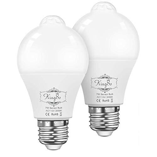 LED電球 広配光タイプ 人感センサー付き 明暗センサー 室内センサーライトト 自動点灯/消灯 センサーライト E26口金 led センサー 60W形相当 (昼白色7W-2個セット) (電球色)