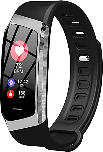Reloj Conectado Mujeres Rose SmartWatch Deporte Podómetro Pulsera conectada Mujer Inteligente Cardio Frecuencia Color Impermeable Transparewatch Presión de Android iOS-Gris