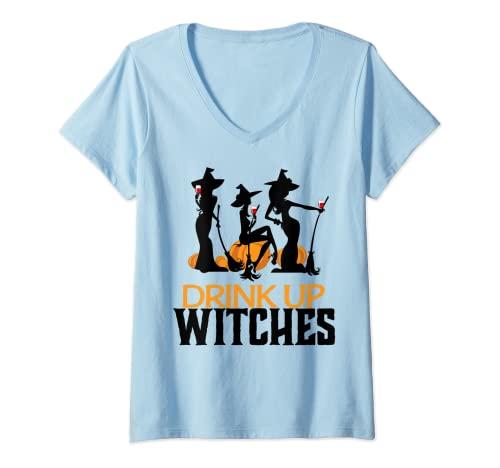 Mujer beber brujas Camiseta Cuello V
