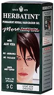 2 Packs of Herbatint Permanent Herbal Haircolour Gel 5c Light Ash Chestnut - 135 Ml