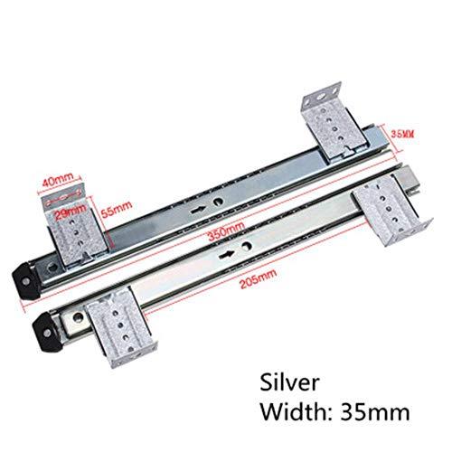 EDCV Gleitschiene Computer Desk Drawer Orbit Keyboard Bracket Gleitschiene Hoisting Crane Rail Bracket 2 Führungsschiene, Silber Breite 35cm