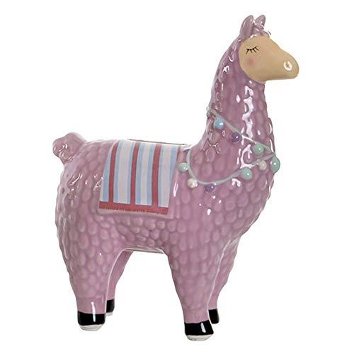 Hucha Llama/Alpaca, elaborada en Dolomite. Diseño Original, con Estilo Infantil (15cm X 19cm X 7,5cm) - Hogar y Más - Morado Claro