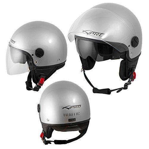 Motorradhelm Motorrad Roller Jet Helm Innensonnenblende Viser Silber XL