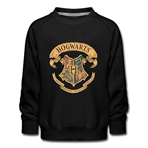 Spreadshirt Harry Potter Hogwarts Wappen Kinder Premium Pullover, 152-164, Schwarz