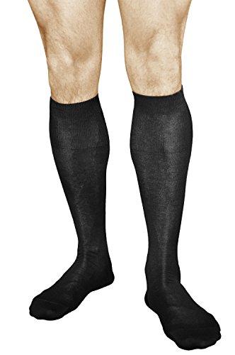 vitsocks Herren Kniestrümpfe Schwarz (2x Pack), 100prozent BAUMWOLLE, Atmungsaktiv, 39-41