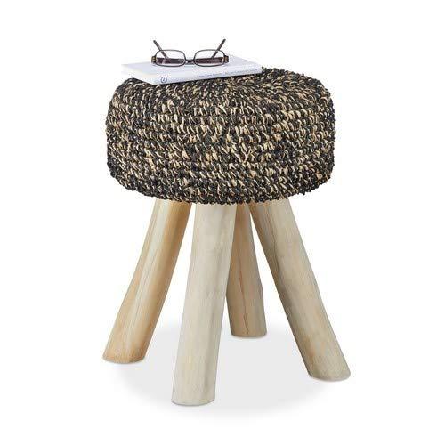 Relaxdays teakhouten kruk, 120 kg belastbare kruk, ronde gestoffeerde kruk HxBxD: 48 x 38 x 38 cm, zwart-beige
