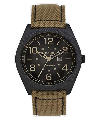 Rip Curl Striker Midnight Watch | Desert | Lightweight Sport Watch, Waterproof Tested, Analog Display, Non-Tide Watch, 3-Hand Quartz Movement with Date Function | 44mm Case Diameter