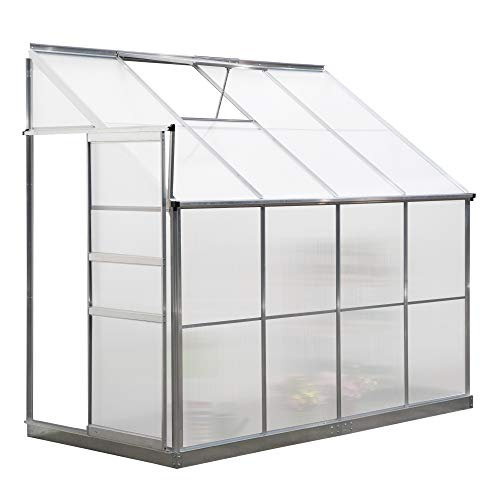 Outsunny Walk-In Lean to Greenhouse Garden Heavy Duty Aluminium Polycarbonate with Roof Vent Plants Herbs Vegetables (8 x 4ft)