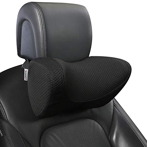 Car Neck Pillows with Resilient Memory Foam,Automotive Seat Cushions of Headrests for Relieving Neck Stiffness &Supporting with Adjustable Straps and Comfy Outer Cover(Black,1Package)