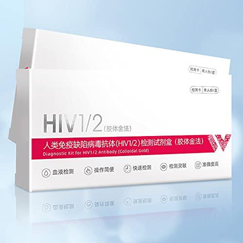 HIV-testpapier Zelftestkit, testkit Bloedanalysetestpapier met bloedafnamenaald + buffer + druppelaar + alcohol wattenschijfje, humaan immunodeficiëntievirus, 2 stuks