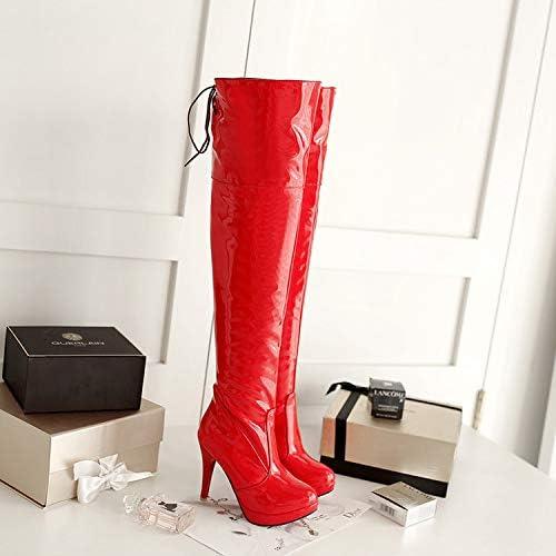 HRCxue zapatos de la Corte botas de Baile Sexy para Discoteca con tacón Alto y botas Altas hasta la Rodilla, más Caballero de Terciopelo, rojo, 37