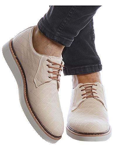 Leif Nelson Herren Schuhe für Freizeit Business mit Schnürsenkel Casual Männer Freizeitschuhe für Sommer Winter Elegante Brogue Herrenschuhe Sneaker Oxford Halbschuhe LN206, Beige, 45 EU